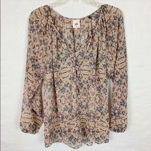 CABI Sheer Floral Blouse XS
